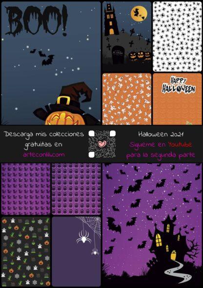 colección halloween scrapbooking en pdf de regalo arteconlili