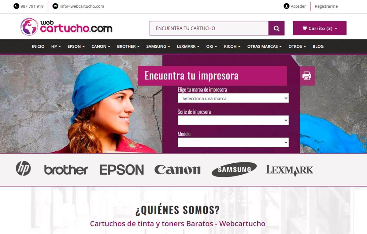Página principal de webcartucho.com