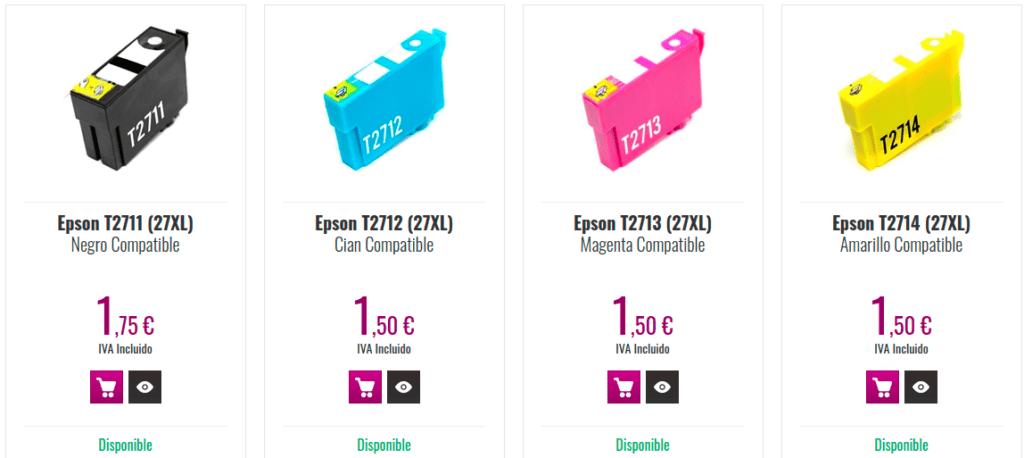 Imagen de la tienda de webcartucho.com con los cartuchos compatibles.